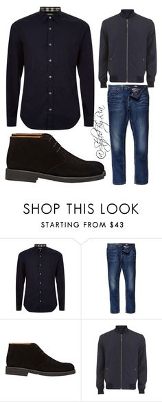 """""""Mens style"""" by stylebyria ❤ liked on Polyvore featuring Burberry, River Island, Barneys New York, Versace, mens, men, men's wear, mens wear, male and mens clothing"""
