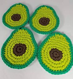 Bring on the GUAC! Spice up taco Tuesdays with these crochet avocado coasters! Set of 4 coasters. Care Instructions: Spot clean only.  If you would like a specific color, or variation that you dont see please send me an email before purchase.  Made in a dog-friendly home.  Each one is hand made with love so there might be slight variations. But I work very hard to ensure consistency.