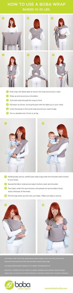 Helpful instructions on how to tie a wrap baby carrier and then get your baby in the best way! #babywearing: