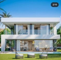 Best Modern House Design, Modern Villa Design, Modern Exterior House Designs, House Front Design, Dream House Exterior, Exterior Design, Home Modern, Kitchen Modern, Interior Modern