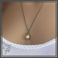Saltwater Pearl,South Sea Pearl,Pearl Necklace,Saltwater Yellow Pearl,Saltwater Pearl Charm,Pearl Pendant,Sterling Silver,Handmade Pendant by FutureArtJewelry on Etsy
