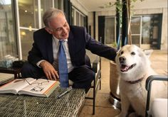 Benjamin Netanyahu PM of Israel with his beloved dog Kaia, a rescue dog he and his wife Sara adoted