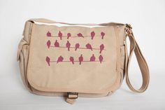 Canvas Messenger Bag With Birds On A Wire Design by BullaDesigns