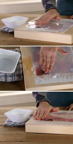 Para retirar o papel (deixando apenas a imagem na superfície), passe os dedos…