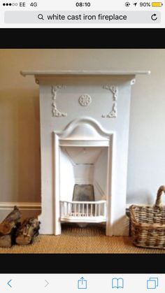 White cast iron fireplace