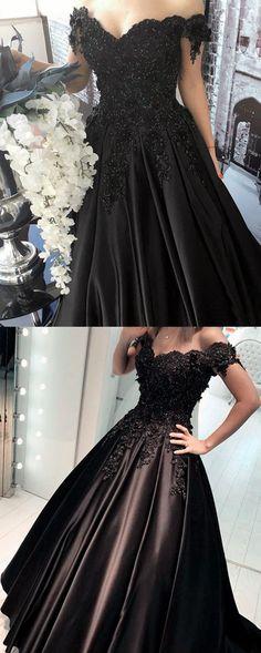 Black Lace Flower Off The Shoulder Satin Prom