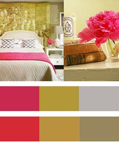 pink + gold + green+white OFFICAL BEDROOM COLOR SCHEME