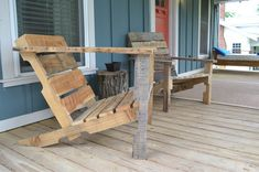 Build wooden deck chair from a pallet by Erwin Renovation LLC