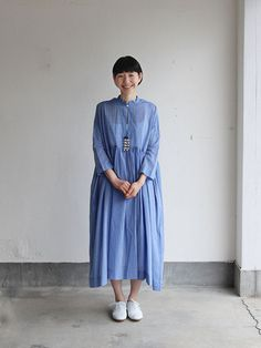 Gather bottom big dress~yarn dyed fine lawn(blue) 1