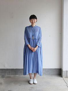 Gather bottom big dress~yarn dyed fine lawn(blue) 1