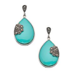 Tang & Song Sterling Silver Turquoise and Marcasite Teardrop Flower... ($55) ❤ liked on Polyvore featuring jewelry, earrings, silver jewelryearrings, turquoise teardrop earrings, sterling silver stud earrings, tear drop earrings, flower earrings and sterling silver earrings