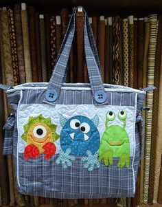 Adorable monster applique tote bag. Awesome.