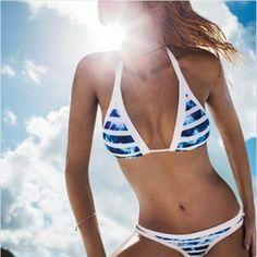 Trendy Swimwear, Bikini Swimwear, Sexy Bikini, Bikini Girls, Halter Bikini, Bikini Beach, Bikini 2017, Brazilian Style, Blue Bikini Set