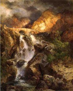 Thomas Moran (American b. England, 1837-1926) Cascading Water
