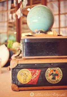 Grography station for homeschool - vintage suitcases for table top and globe for study.