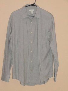 $19.99 Mens Banana Republic Gray Stretch Button Front Shirt Size: Large