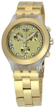 Swatch Mens Stainless Steel Analog Watch with Gold Dial Watch Mens Dress Watches, Gold Watch, Chronograph, Swatch, Women Jewelry, Stainless Steel, Stuff To Buy, Casting Crowns, Accessories