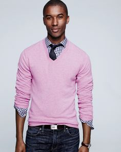 J.Crew men's v-neck cashmere sweater in heather violet. To preorder call 800 261 7422 or email erica@jcrew.com.
