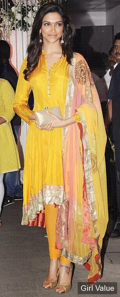 "{""token"":""1766""} - Deepika Padukone in Yellow Salwar Kameez"