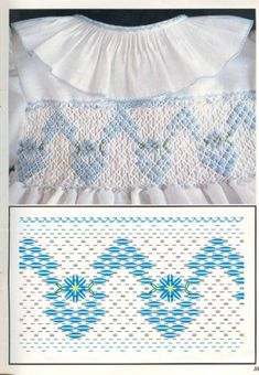 Design for a straight section of smocking Smocking Baby, Smocking Plates, Smocking Patterns, Sewing Patterns, Smocked Baby Clothes, Girls Smocked Dresses, Hand Embroidery Designs, Embroidery Stitches, Punto Smok