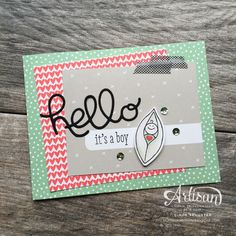 Hello baby with Friends and Flower Stamp set by Cindy Schuster