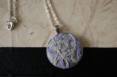 """""""Hannah"""" silver floral necklace: dark silver polymer clay cabochon with lilac and pearl vines and petals by {Jonelle*James} $35.00"""