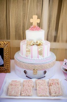 Pink and White Baptism Party Ideas | Photo 10 of 25 | Catch My Party