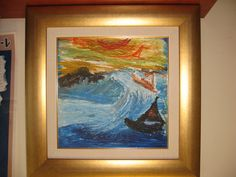 """Painted by 11 yr old Udi as a  token of appreciation to Ezer Mizion. """"I feel like a boat in a storm. I keep trying to release myself from the strong grip of the waves but they just keep pulling me under."""" Read more: http://www.allvoices.com/contributed-news/11712606-like-a-boat-in-a-storm"""