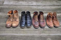 Red Wing Iron Rangers in Hawthorne Muleskinner, RW Gentleman Travelers in Black Chromexcel, Red Wing 4182 Moc Toe with Vibram Lug Soles, Clarks Desert Boots in Beeswax