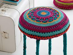 Crocheted pouf with legs