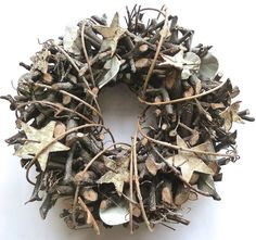 Fall and Winter Wreath Ideas - this wreath would be easy to make using tree branches, birch bark cut into stars and vine - all woven around a wreath form - via Deja Vue Designs