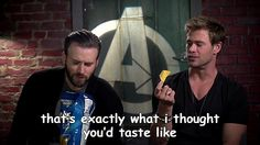 Chris Evans and Chris Hemsworth. The bromance is real.