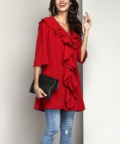 Look what I found on #zulily! Burgundy Chiffon Ruffle-Front Tunic #zulilyfinds