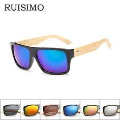 192466e323 Original Wooden Bamboo Sunglasses Men Women Mirrored UV400 Sun Glasses Real  Wood Shades Gold Blue Outdoor
