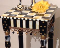Hand Painted Black and White Accent Side Table - Square 12x12 - Plant Stand