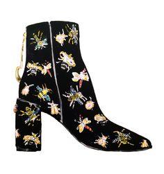 ZARA Beaded velvet ankle boots. Illustration by Alexandra Constantine