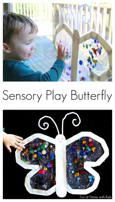 Mess-Free Sensory Play Butterfly for Babies and Toddlers (Fun at Home with Kids) Spring Activities, Sensory Activities, Sensory Play, Infant Activities, Activities For Kids, Baby Sensory, Sensory Bins, Indoor Activities, Toddler Play
