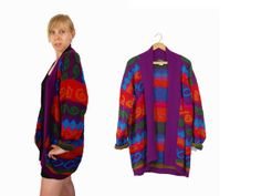 Oversized Purple Geometric Sweater // Comfy by IntertwinedVintage, $26.00