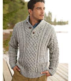 Heritage Sweater, Irish Fisherman's Button-Mock: Henleys and Zip-Necks | Free Shipping at L.L.Bean