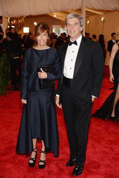 Marni designer Consuelo Castiglioni (L) with husband Marni CEO Gianni Castiglioni attend the Costume Institute Gala for the PUNK: Chaos to Couture exhibition at the Metropolitan Museum of Art on May 6, 2013 in New York City.