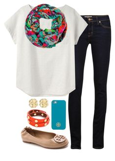 """""""Scarf"""" by preppy-prep ❤ liked on Polyvore featuring J Brand, A.P.C. and Tory Burch"""