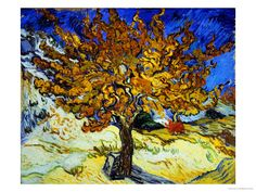 """Mulberry Tree, c.1889 by Vincent van Gogh. Finished in 1889, less than one year before Van Gogh's death, """"Mulberry Tree"""" was painted while Van Gogh was in the Saint-Remy asylum. He was allowed short, supervised outdoor walks during this time, and he painted many trees including cypresses and olives, as they were his only available physical subject-matter. Giclee print from Art.com."""
