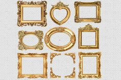 Check out 9 Golden frames transparent PNG by LiliGraphie on Creative Market