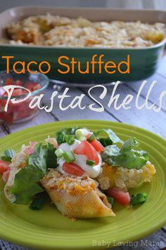 Taco Stuffed Pasta Shells Recipe - This tastes AMAZING! #tacos #pasta