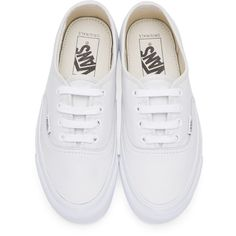 Vans White Leather OG Authentic LX Sneakers ($71) ❤ liked on Polyvore featuring shoes, sneakers, vans trainers, leather sneakers, leather lace up sneakers, white leather trainers and low profile sneakers