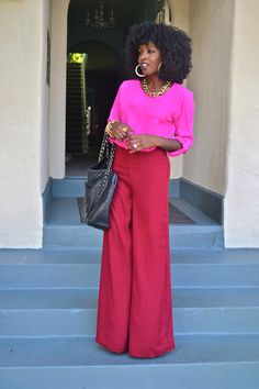 Loving the color scheme! And wide leg pants do so much to a womans shape