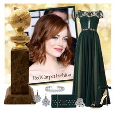 """Golden Globe Nominee ... Emma Stone"" by krusie ❤ liked on Polyvore featuring Lanvin, Tadashi, Alexandre Birman, V°73, Allurez and Effy Jewelry"