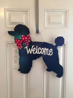 Dog Poodle Wooden Decor // Door Hanger // Dog by DPlusThreeDesigns