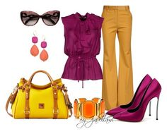 """""""Fucsia and Mustard"""" by izabellaml ❤ liked on Polyvore featuring By Malene Birger, BGN, Dooney & Bourke, Casadei, Roberto Cavalli, David Aubrey and Juicy Couture"""