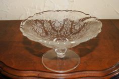 Vintage Heisey Glass Crystal Compote ORCHID Pattern Made 1940s To 1950s
